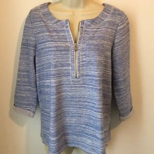 Weekends by Chicos Blue White Striped Shirt